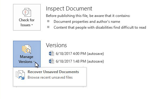 How to Recover Unsaved Word Document 2016, 2013 & 2010